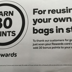 30 Bonus Rewards Points (Worth $0.15) When You Bring Your Own Bags @ Woolworths / BWS ($5 Min Spend)