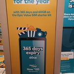 Optus Prepaid Epic Value 365 Days, Unlimited Calls & Texts, 60GB Data $120 @ Optus (in-Store Only)
