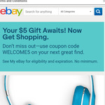 $5.00 off Your Purchase No Minimum Spend @ eBay US
