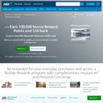 ANZ Rewards Platinum Credit Card - 100,000 Reward Pts with $1,500 Spend in 3 Months, $95 Fee ($50 Cashback 1st Year)