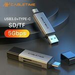 CABLETIME USB 3.0 SD Card Reader US$3.78 (~A$4.80) Delivered @ Cabletime via AliExpress