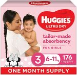 Huggies Ultra Dry Nappies Girl & Boys Size 3 (6-11kg) 1 Month Supply 176 Count $51.75 ($43.99 S&S) Delivered @ Amazon AU