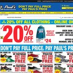 An Extra 20% Off All Clothing Online - Limited Time Only! @ Pauls Warehouse