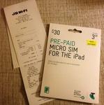 3GB Telstra Pre-Paid Micro/Nano Sim Card iPad/Tablets, NOW $10 (Rrp$30) JB HIFI