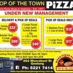 Top of The Town Pizza (Geelong VIC) - 2 Family Pizzas $32 + More