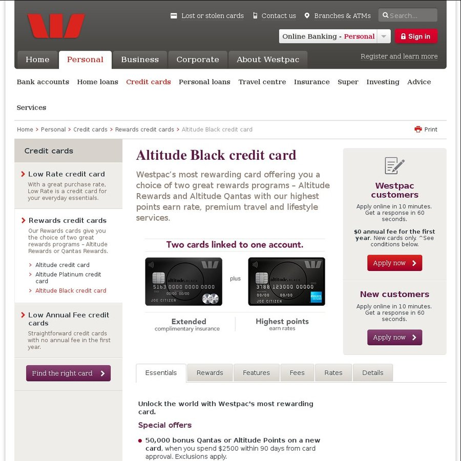 Westpac altitude platinum black included 50k qf points or westpac altitude platinum black included 50k qf points or altitude points on 25k spend 0 1st year for westpac cust ozbargain reheart Gallery