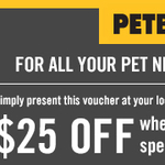 Petbarn $25 off $75+ Spend With Voucher