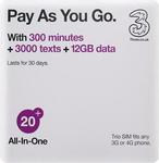 40% off UK/Europe SIM Card ($36 + FREE SHIPPING) Three PAYG All-in-One + 12GB Data + 300 Mins Calls + 3000 Texts@ So Easy Travel