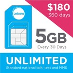 Lebara 360 Day SIM Pack - Unlimited Calls/SMS, 5GB, 250 International Minutes, $15.00/30 Days. Buy 1 Year in Advance for $180