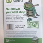$10 off Next Shop When You Spend $30 at Woolworths Metro Collins Square (VIC)