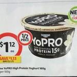 ½ Price Danone Yopro Yoghurt Varieties 160gm $1.12, 15% off Events Gift Cards @ Coles