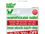 Rushfaster warehouse sale: Up to 70% off [SYD, warehouse only]