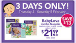 $21.99 BabyLove Nappies Jumbo Pack  (was 34.99) at Toy'R'us
