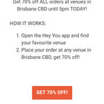 [QLD] 70% off All Orders at Brisbane CBD Venues @ Hey You