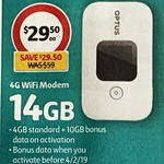 ½ Price Optus E5577 4G Wi-Fi Modem + 14GB Data $29.50 @ Coles