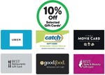 10% off Selected Gift Cards (Catch, Uber, Good Food, The Movie Card, Best Restaurants, Best Spas & Beauty) @ Woolworths
