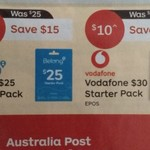 Vodafone $30 Starter Pack $10, Belong $25 Starter Pack $15 @ Australia Post Store