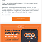 Get 4000 Woolworths Rewards Points (Worth $20) on Spend of $50+ Using BWS App (Free Click and Collect or + Delivery)