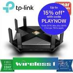 TP Link Archer AX6000 802.11ax WiFi, 8x Gigabit LAN Router $338.30 + $15 Shipping ($0 with Plus) @ Wireless 1 eBay
