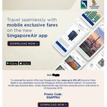 Singapore Airlines: up to 20% off Flights (Economy V Fare Class) with The SingaporeAir App