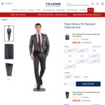 'Floyd' Skinny Fit Charcoal Suit $69 (Sold Out), Extra 10% off Sale Items + $10 Delivery ($0 > $150 Spend) @ T.M. Lewin