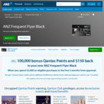ANZ Frequent Flyer Black 100,000 Qantas Points + $150 Back from $425 Annual Fee ($3,000 Spend in First 3 Months)