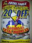 Total Tools 20% Everything One Day Sale