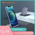 Cabletime Adjustable Phone Stand US$1.09 (~A$1.51) Delivered @ Cabletime Official Store AliExpress