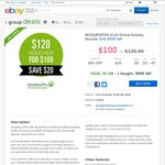 Woolworths Online Grocery Voucher $100 for $120, $160 for $200, $240 for $300 [eBay Group Deal]