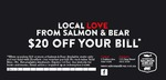 [NSW] Salmon & Bear Newtown and Zetland - $20 off ($60 Minimum Spend) + $10 off With AmEx Shop Small