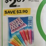 ½ Price Zooper Dooper 24 Pack $2.89 @ Woolworths