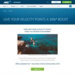30% Velocity Points Bonus on ANZ Reward Points Transfers