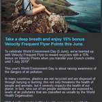Get 15% Bonus on Velocity Points When You Transfer Your Crunch Credits to Velocity Frequent Flyer in June @ Envirobank