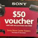 [NSW] $50 off with Any $100+ Purchase (E.g. WH-1000XM3 $279) @ Sony Store, Castle Towers, Castle Hill
