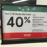 40% off Dinnerware, Glassware and Cutlery When You Buy 2 or More Items @ Myer