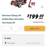 Ozito 18v Power X Change Brushless Mower & Line Trimmer Kit $199 @ Bunnings Warehouse
