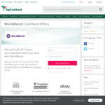 £50 (~$94 AUD) Cashback at TopCashback UK for First Transfer via WorldRemit