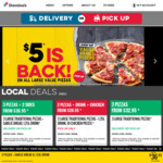 Traditional Range Pizzas $5.50ea, Premium Range Pizza $7.70ea @ Domino's