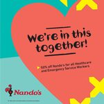 50% off Nando's for Emergency Services & Healthcare Workers (Update: AHPRA Card, GPS, Aged Care & Correctional Services Workers)