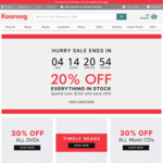 20% off Everything in Stock, 25% off When You Spend over $120 @ Koorong