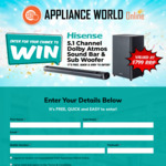 Win a Hisense HS512 5.1 Channel Sound Bar & Subwoofer Worth $799 from Appliance World Online