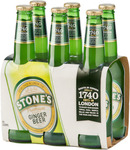 Stone's Ginger Beer 330ml 6pk 2-for-$30 (Save Up to $19 Depending on State) @ BWS