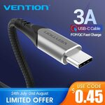 Vention USB-A to Type-C Cable 3A 480mbps Nylon Mesh 3m Grey A$1.03 Incl GST and Shipping @ AliExpress