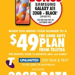 Free Samsung Galaxy A11 32GB Black for New and Port-in Customers on $49 Telstra 12-Month Plan @ The Good Guys