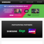 Purchase Selected Samsung QLED TV and Receive 12 Month Free Subscription to Either Binge or Kayo @ Samsung