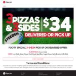 3 Large Pizzas & 3 Sides $34 Delivered @ Pizza Hut