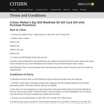 Buy a Citizen Watch (Mothers Day Collection Only RRP $350) and Receive a $50 Westfield Voucher