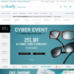 Clearly Contacts 25% off on All Frames, Sunglasses & Lenses (Free Shipping and Handling)