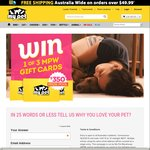Win 1 of 3 Gift Cards (Total Value $350) from My Pet Warehouse