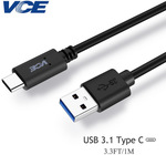 VCE Brand USB A - USB C 1M cable $1.98 USD ($2.52 AUD) @ Aliexpress